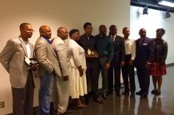 """See A Man, Be A Man"" Program developers receiving the Champion Award for 'Outstanding commitment to community and justice' at the ""Bring A Brother To Breakfast"" Ceremony, presented by the Black Women For Wellness organization."