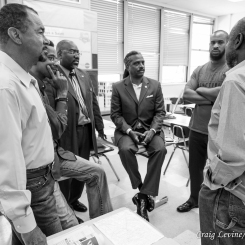 Mentor meeting with Eric Strong, Charles Boyd (Director of Community Engagement at Los Angeles Urban League), Ronald Goodall (Second Vice President of The 100 Black Men of Los Angeles, Inc.), Torre` Brannon-Reese (founder of FAMLI, Inc.), Malcolm Woods (Investor at U.S. Residential, Los Angeles), and Johnnie Raines (cochair of the Southwest LAPD Community Police Advisory Board, former SNCC member and Black Panther).