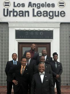 Mentors and a few mentees outside the historical Los Angeles Urban League building.
