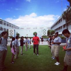 Eric Strong leading a community culture building activity with high school students in Watts.
