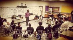 Mr. Eric Strong speaking to young black men about his experiences of growing up, and strategies for success.